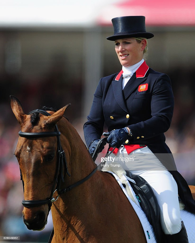 Zara Tindall performs in the Dressage Event during Day Three of the Badminton Horse Trials on May 6, 2016 in Badminton, Gloucestershire.