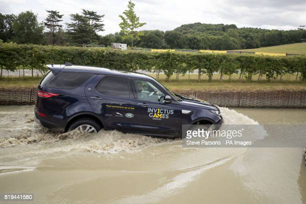 Zara Tindall tries out the Jaguar Land Rover Driving Challenge at the Land Rover Experience at Eastnor Castle part of the UK Team's training for...