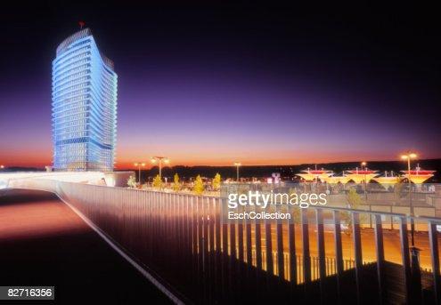 Zaragoza cityscape at dusk