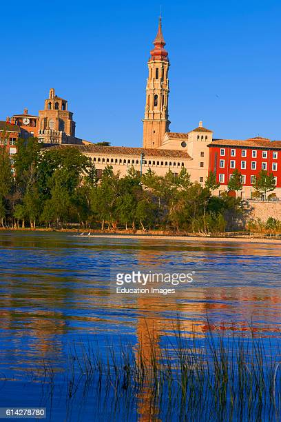 Zaragoza La seo Cathedral Puente de Piedra Ebro River Saragossa Aragon Spain