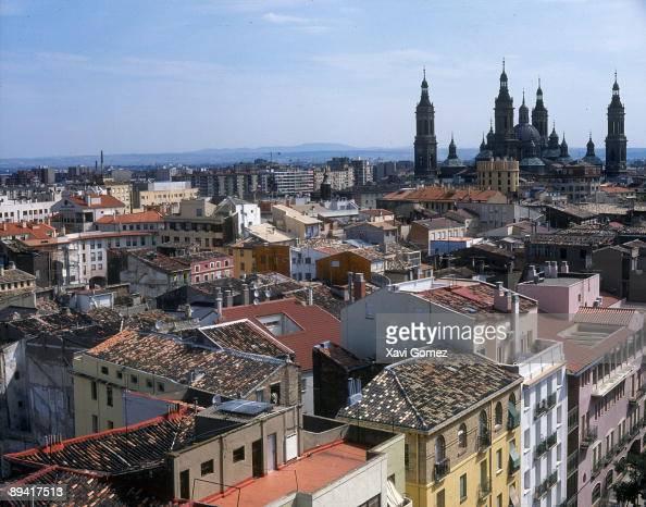 Zaragoza Spain General sight of the Zaragoza city with the Pilar Basilica at the bottom