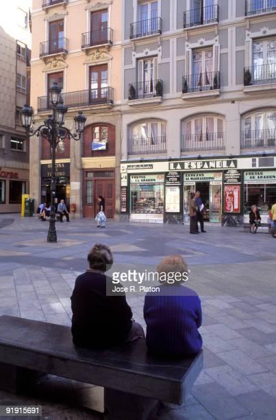 Zaragoza Spain Street with shops
