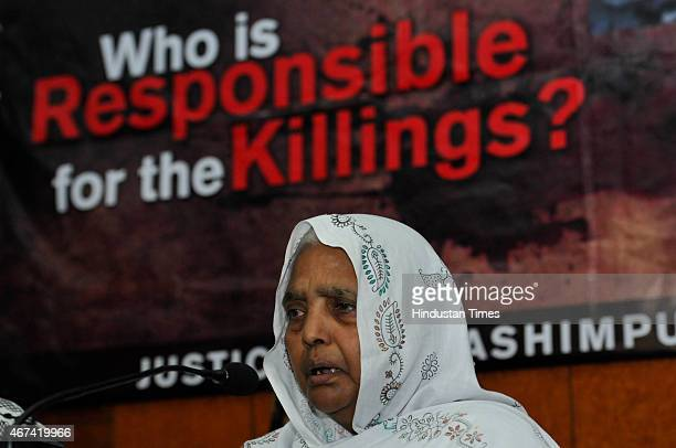 Zareena family member of the victims of the 1987 Hashimpura massacre during a press conference to express their disappointment at the lower court...