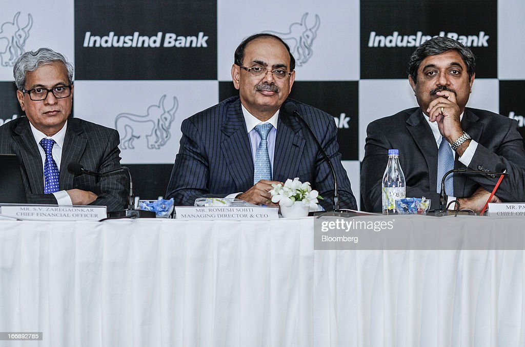SV Zaregaonkar chief financial officer of IndusInd Bank Ltd left Romesh Sobti chief executive officer and managing director of IndusInd Bank Ltd...