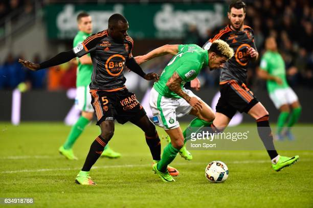 Zargo Toure of Lorient Kevin Malcuit of SaintEtienne during the Ligue 1 match between AS Saint Etienne and Fc Lorient at Stade GeoffroyGuichard on...