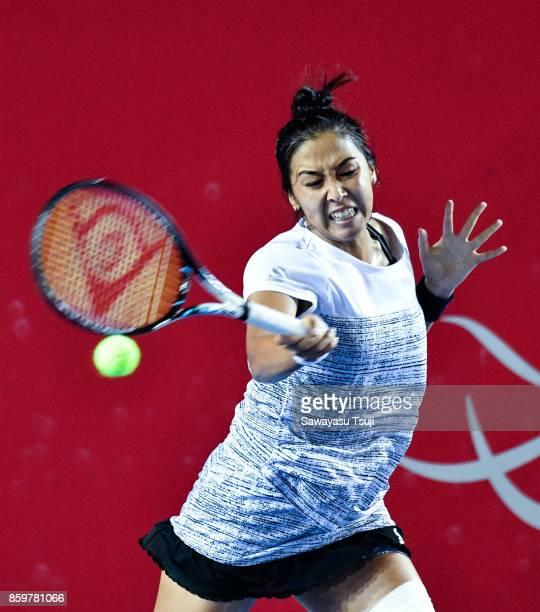 Zarina Diyas in action during the Prudential Hong Kong Tennis Open 2017 match between Elina Svitolina of Ukraine and Zarina Diyas of Kazakhstan at...