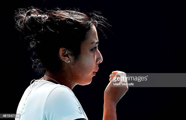 Zarina Diyas of Kazakhstan blows her fingers in her second round match against Daniela Hantuchova of Slovakia during day five of the Hobart...