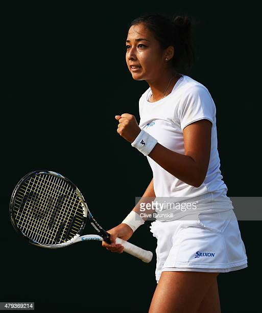 Zarina Diyas of Kazakhstan celebrates a point in her Ladies' Singles Third Round match against Andrea Petkovic of Germany during day five of the...
