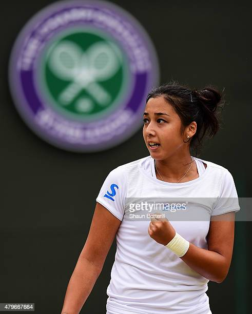 Zarina Diyas of Kazakhstan celebrates a point in her Ladies' Singles Fourth Round match against Maria Sharapova of Russia during day seven of the...