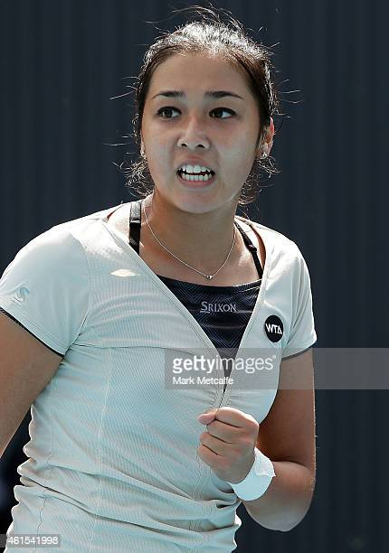 Zarina Diyas of Kazakhstan celebrates winning match point in her second round match against Daniela Hantuchova of Slovakia during day five of the...
