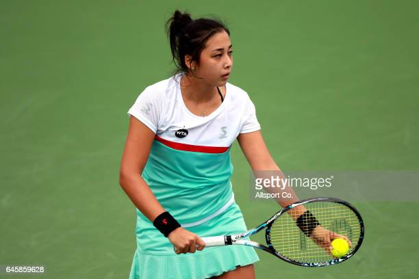 Zarina Diyas of Kazakhstan in action against YingYing Duan of China during Round One of the 2017 WTA Malaysian Open at the TPC on February 27 2017 in...