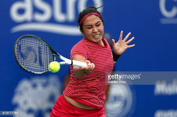 Zarina Diyas of Kazakhstan in action during round two of the 2016 BMW Malaysian Open at Kuala Lumpur Golf Country Club on March 1 2016 in Kuala...