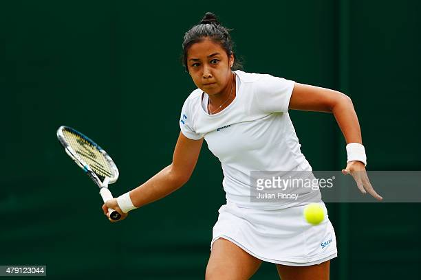 Zarina Diyas of Kazakhstan plays a forehand in her Ladies Singles Second Round match against Aliaksandra Sasnovich of Belarus during day three of the...