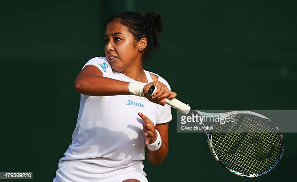 Zarina Diyas of Kazakhstan plays a forehand in her Ladies' Singles Third Round match against Andrea Petkovic of Germany during day five of the...