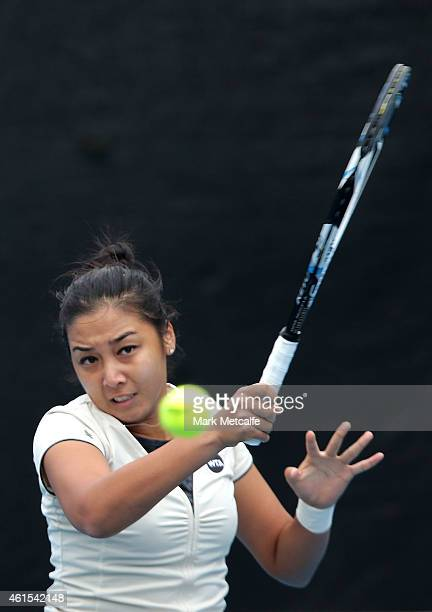 Zarina Diyas of Kazakhstan plays a forehand in her second round match against Daniela Hantuchova of Slovakia during day five of the Hobart...