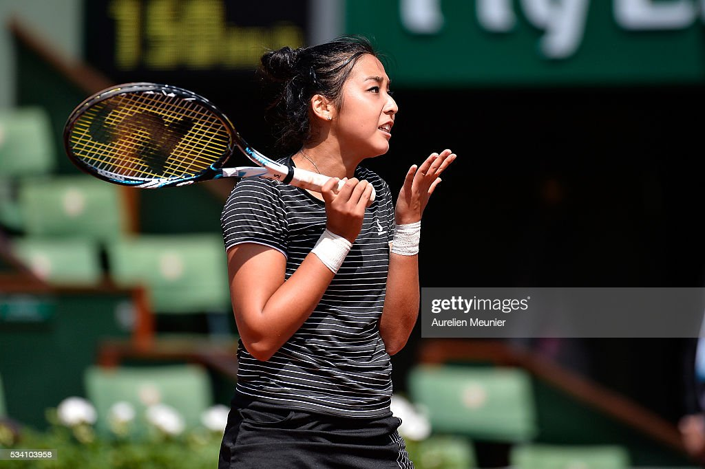 <a gi-track='captionPersonalityLinkClicked' href=/galleries/search?phrase=Zarina+Diyas&family=editorial&specificpeople=6975998 ng-click='$event.stopPropagation()'>Zarina Diyas</a> of Kazakhstan reacts during her women's single second round match against Simona Halep of Romania on day four of the 2016 French Open at Roland Garros on May 25, 2016 in Paris, France.