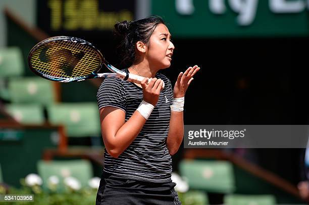 Zarina Diyas of Kazakhstan reacts during her women's single second round match against Simona Halep of Romania on day four of the 2016 French Open at...