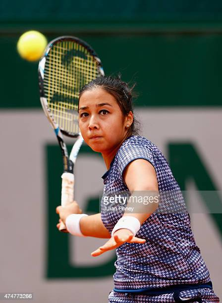 Zarina Diyas of Kazakhstan returns a shot during her Women's Singles match against Dinah Pfizenmaier of Germany on day three of the 2015 French Open...