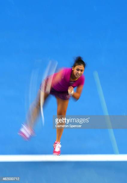 Zarina Diyas of Kazakhstan serves in her third round match against Maria Sharapova of Russia during day five of the 2015 Australian Open at Melbourne...