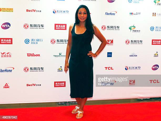 Zarina Diyas poses for a picture at the red carpet at Wanda Realm Hotel on September 27 2015 in Wuhan China
