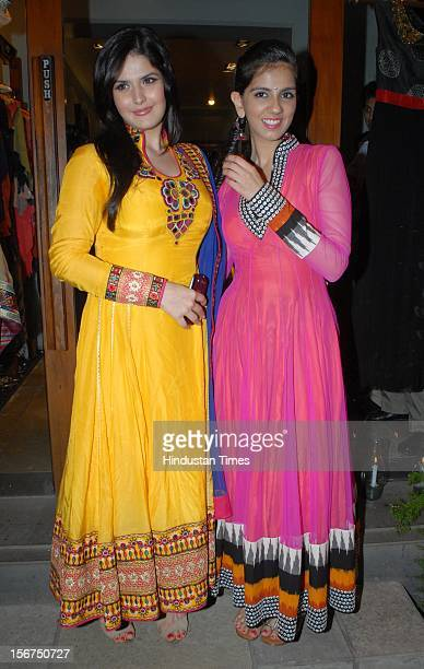 'MUMBAI INDIA OCTOBER 12 Zarine Khan and Nishika Lulla during the party to unveil the latest collection of Nishka Lulla and Rajat Tangri at Fuel...