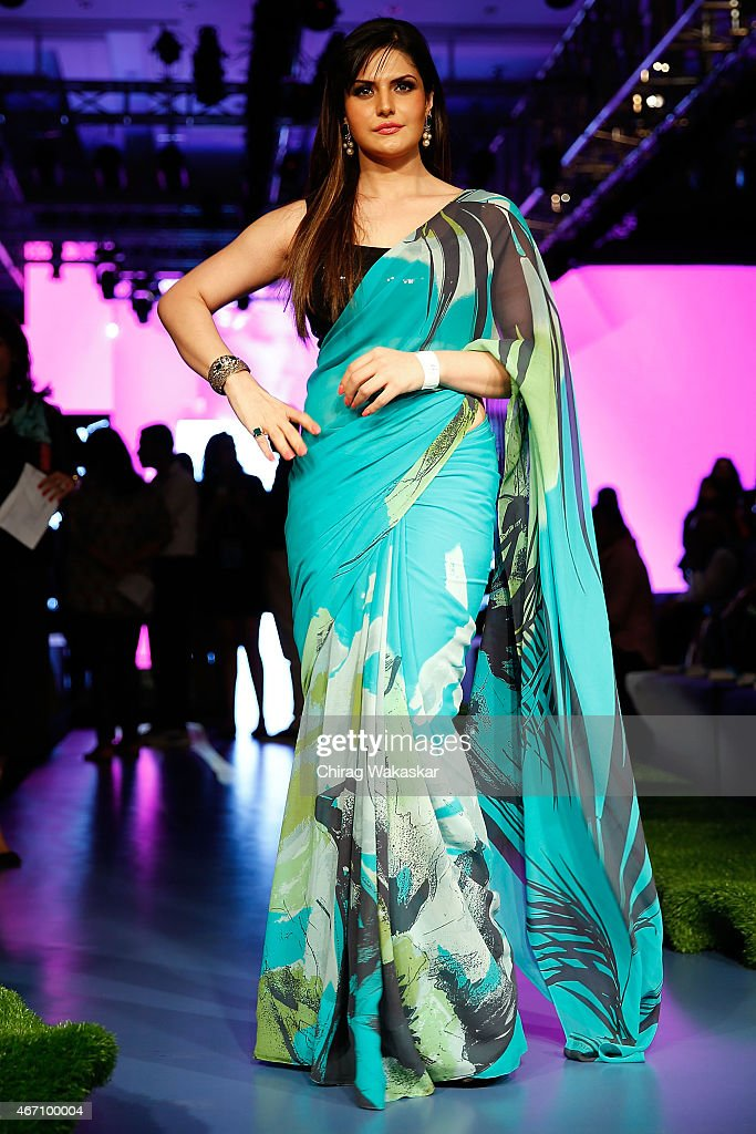<a gi-track='captionPersonalityLinkClicked' href=/galleries/search?phrase=Zarine+Khan&family=editorial&specificpeople=6381777 ng-click='$event.stopPropagation()'>Zarine Khan</a> poses for pictures on day 3 as part of Lakme Fashion Week Summer/Resort 2015 at Palladium Hotel on March 20, 2015 in Mumbai, India.