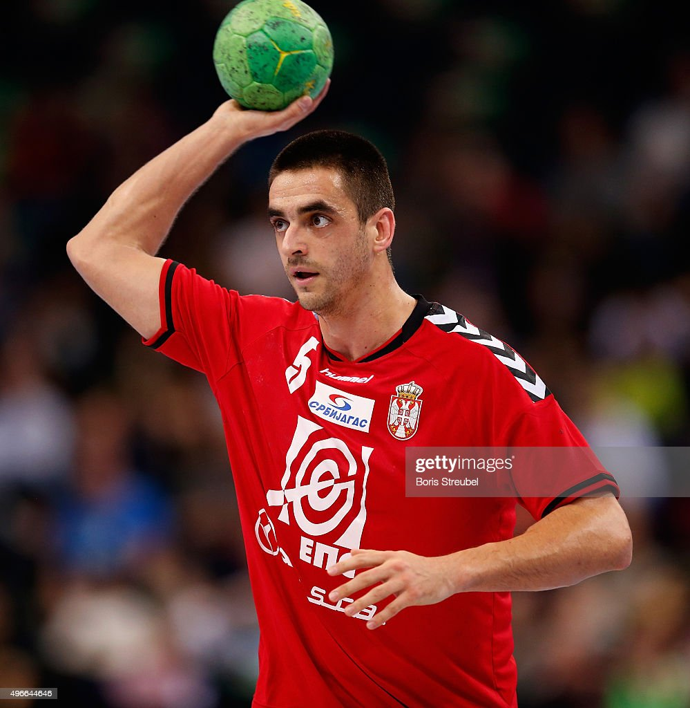 <a gi-track='captionPersonalityLinkClicked' href=/galleries/search?phrase=Zarko+Sesum&family=editorial&specificpeople=5668700 ng-click='$event.stopPropagation()'>Zarko Sesum</a> of Serbia in action during the men's Handball Supercup between Germany and Serbia at Barclaycard Arena on November 7, 2015 in Hamburg, Germany.
