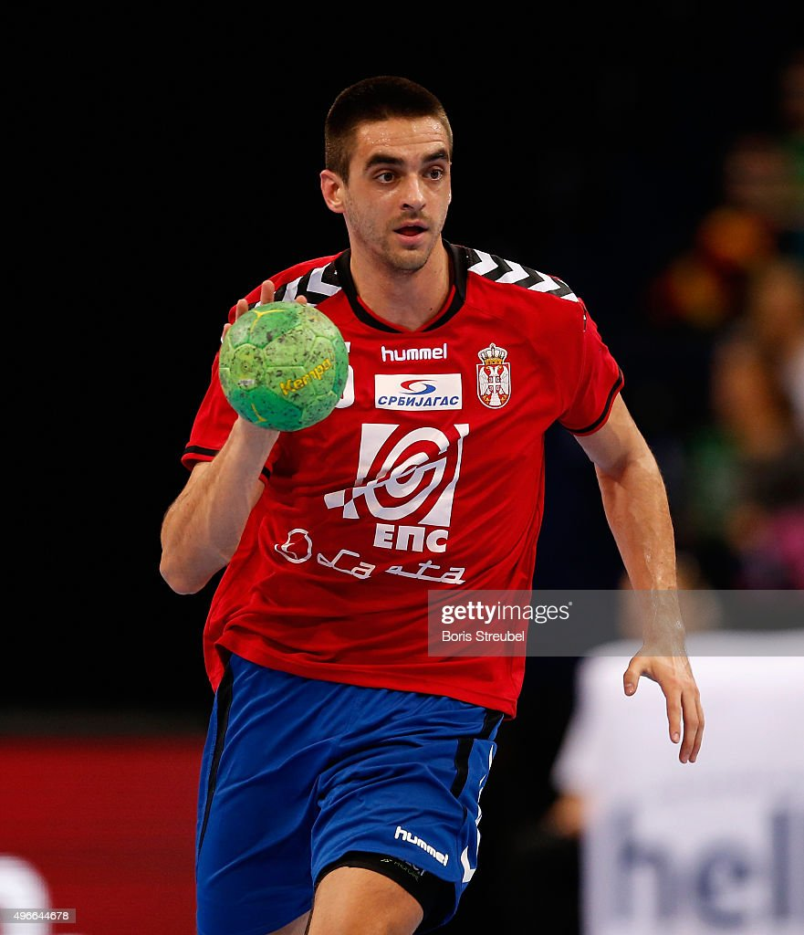 Zarko Sesum of Serbia in action during the men's Handball Supercup between Germany and Serbia at Barclaycard Arena on November 7, 2015 in Hamburg, Germany.