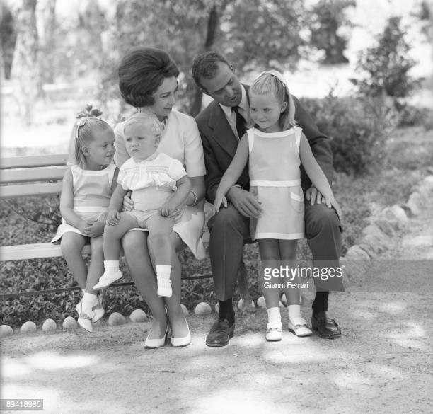 Zarzuela Palace Madrid 1969 The princes of Spain Juan Carlos and Sofia with their chindrens Elena Cristina and Felipe