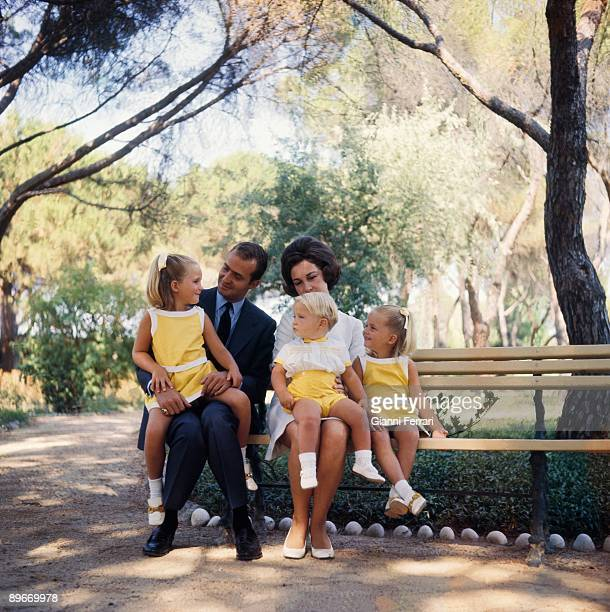 Zarzuela Palace Madrid 1970 The princes of Spain Juan Carlos and Sofia with their chindrens Elena Cristina and Felipe