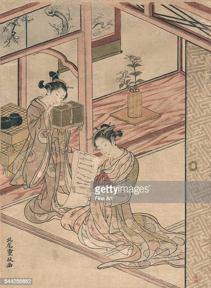 Zashiki no yujo to kamuro Between 1764 and 1772 Woodcut color 279 x 205 cm