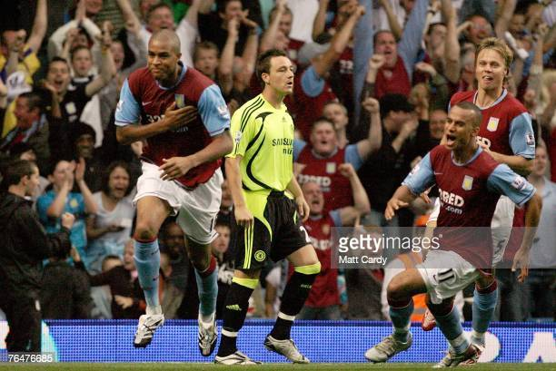 Zat Knight celebrates his opening goal during the Barclays Premier League match between Aston Villa and Chelsea at Villa Park on September 2 2007 in...