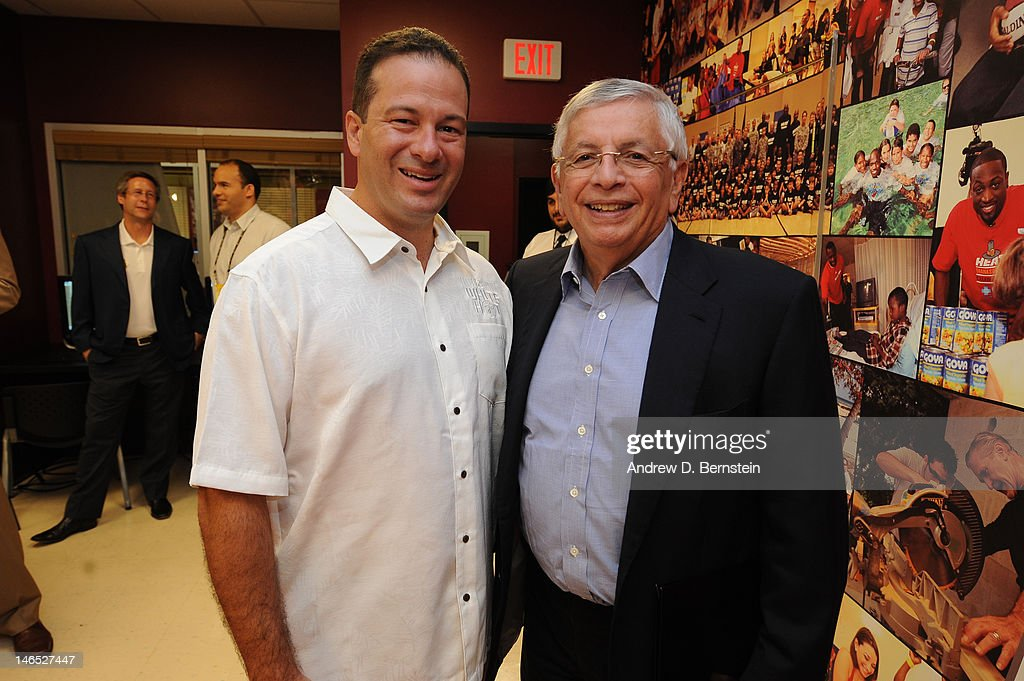 Zavier Garcia, Mayor, Miami-Dade County and NBA Commissioner <a gi-track='captionPersonalityLinkClicked' href=/galleries/search?phrase=David+Stern&family=editorial&specificpeople=206848 ng-click='$event.stopPropagation()'>David Stern</a> attend the unveiling of the NBA Cares Learn and Play Center at the Miami Springs Community Center presented by HP and State Farm on June 18, 2012 in MIami, Florida.