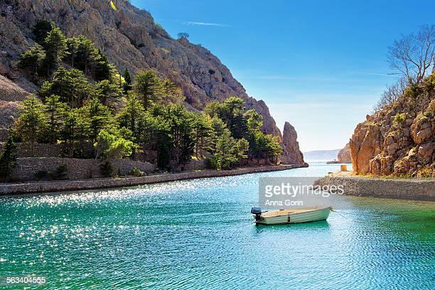 Zavratnica inlet with lone boat, spring, Croatia