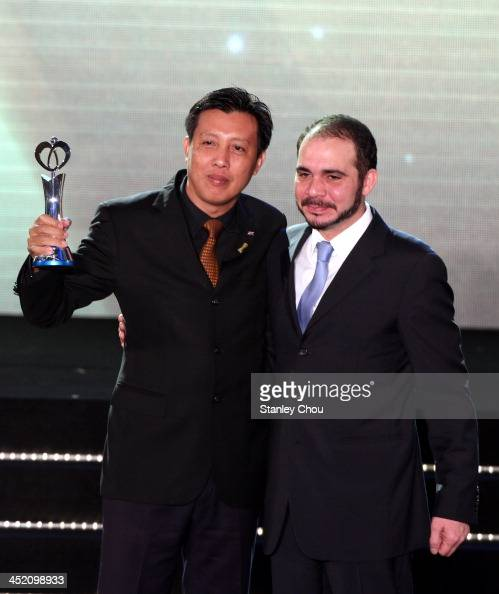 Zaw Zaw President of Myanmar Football Association poses with his AFC Dream Asia Award for his Association from the Prince of Jordan HRH Prince Ali...