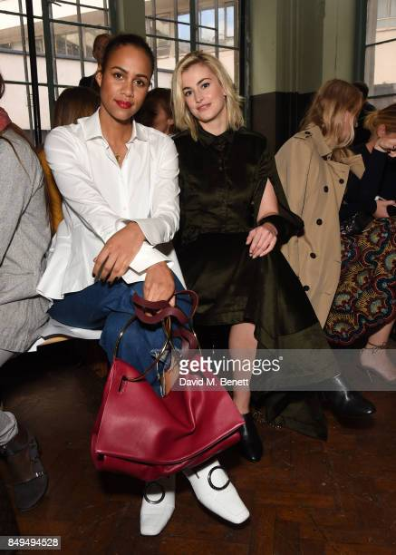 Zawe Ashton and Stefanie Martini attend the palmer//harding SS18 catwalk show during London Fashion Week September 2017 at The College on September...