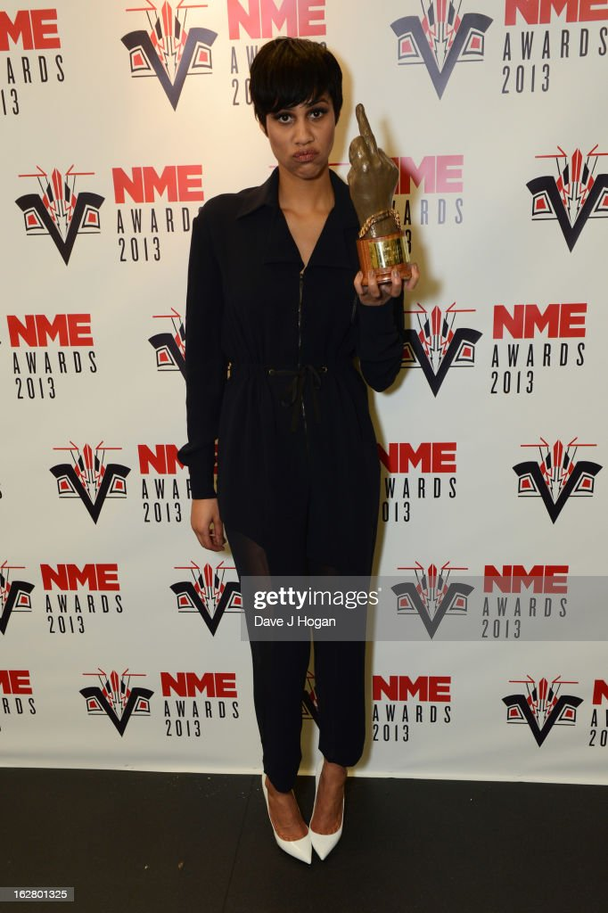 Zawe Ashton poses in the media room with her Best TV Award at the NME Awards 2013 at The Troxy on February 27, 2013 in London, England.