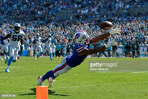 Zay Jones of the Buffalo Bills can't make the diving catch on fourth down in the final seconds of a loss to the Carolina Panthers during their game...