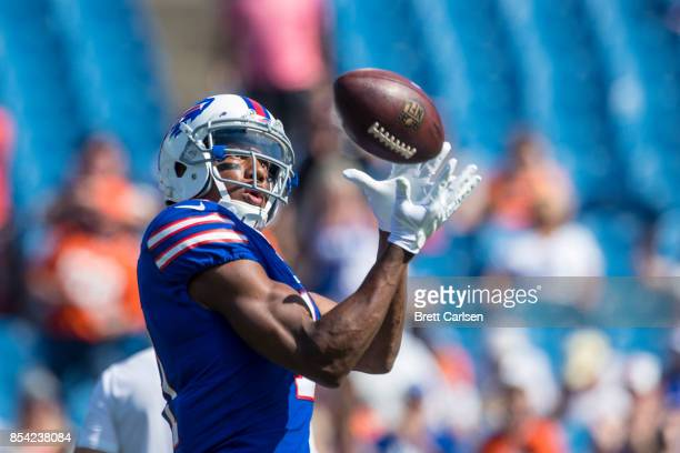 Zay Jones of the Buffalo Bills catches a pass during warm ups before the game against the Denver Broncos on September 24 2017 at New Era Field in...