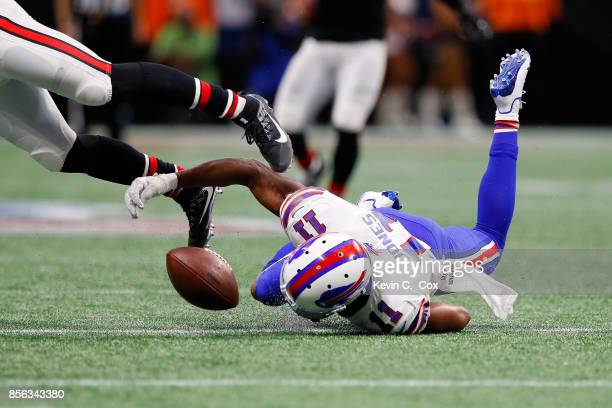 Zay Jones of the Buffalo Bills fails to pull in a reception during the first half against the Atlanta Falcons at MercedesBenz Stadium on October 1...
