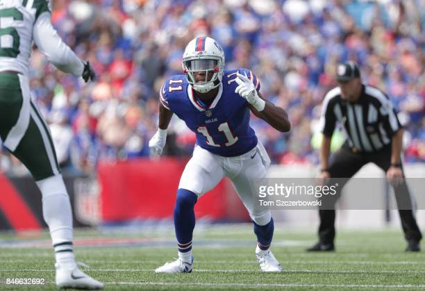 Zay Jones of the Buffalo Bills in action during NFL game action against the New York Jets at New Era Field on September 10 2017 in Buffalo New York