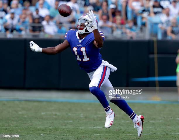 Zay Jones of the Buffalo Bills reaches for the ball against the Carolina Panthers during their game at Bank of America Stadium on September 17 2017...