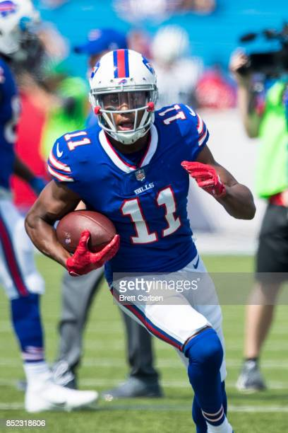 Zay Jones of the Buffalo Bills warms up before the game against the New York Jets on September 10 2017 at New Era Field in Orchard Park New York...
