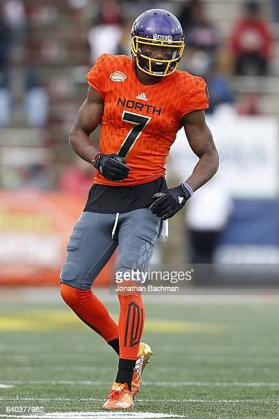 Zay Jones of the North team lines up during the Reese's Senior Bowl at the LaddPeebles Stadium on January 28 2017 in Mobile Alabama