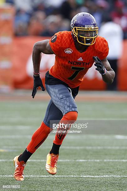 Zay Jones of the North team runs during the Reese's Senior Bowl at the LaddPeebles Stadium on January 28 2017 in Mobile Alabama