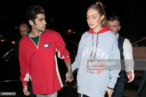 Zayn Malik and Gigi Hadid arrive at 'Laperouse' restaurant on February 28 2017 in Paris France