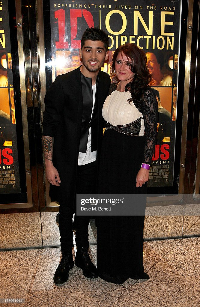 <a gi-track='captionPersonalityLinkClicked' href=/galleries/search?phrase=Zayn+Malik&family=editorial&specificpeople=7298822 ng-click='$event.stopPropagation()'>Zayn Malik</a> (L) and mother Tricia Malik attend the World Premiere of 'One Direction: This Is Us 3D' at Empire Leicester Square on August 20, 2013 in London, England.