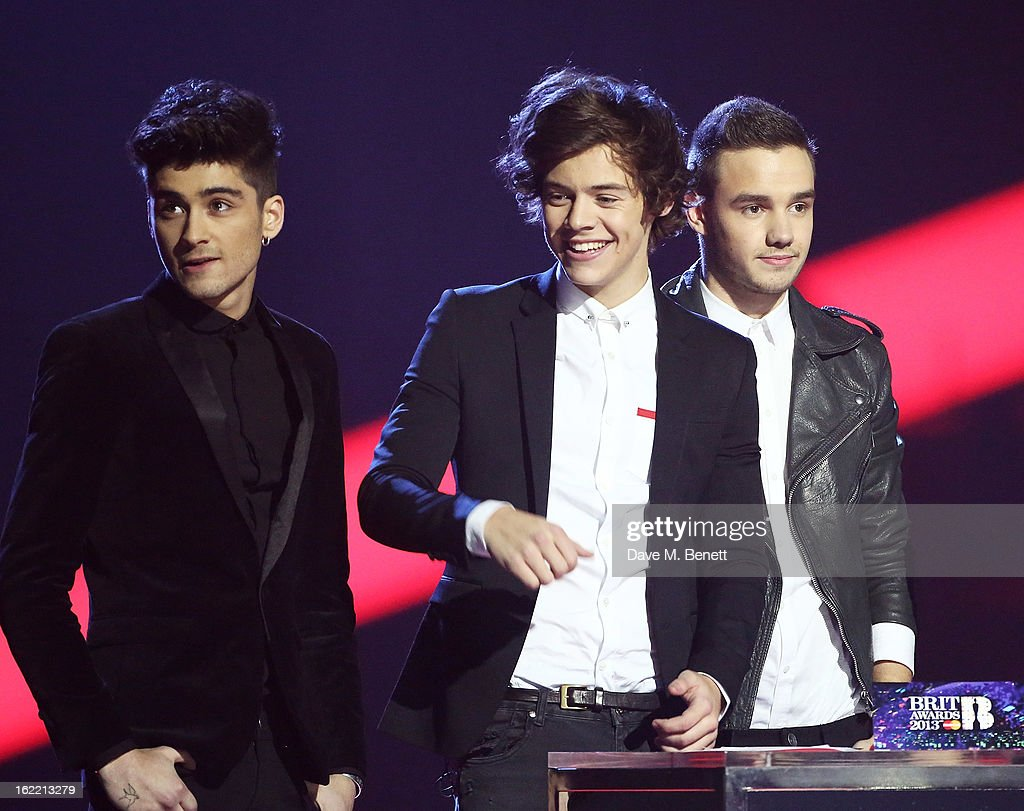 Zayn Malik, Harry Styles and Liam Payne of One Direction accept the Global Success award on stage at the Brit Awards at 02 Arena on February 20, 2013 in London, England.