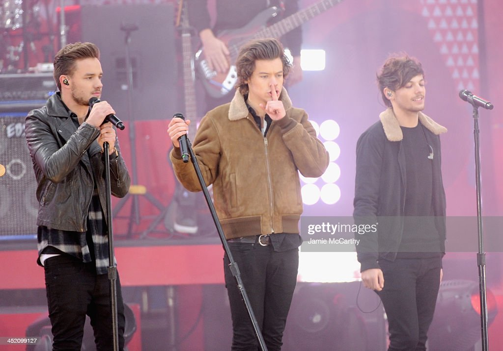 Zayn Malik, Harry Styles and Louis Tomlinson of One Direction perform at Rumsey Playfield on November 26, 2013 in New York City.