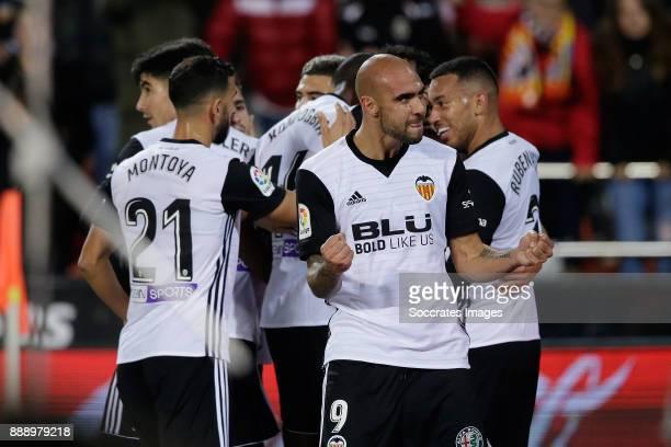 Zaza of Valencia CF celebrates 10 during the Spanish Primera Division match between Valencia v Celta de Vigo at the Estadio de Mestalla on December 9...